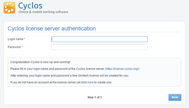 Cyclos license server authentication
