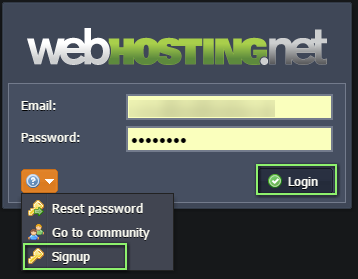 login or signup for Jelastic account