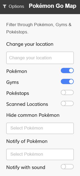 pokemongo map options