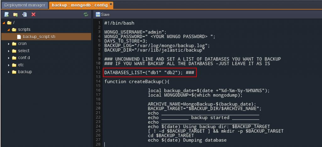 backup few databases