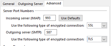 Configuring IMAP in Outlook