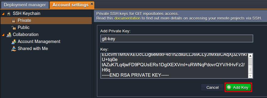 Adding private Key