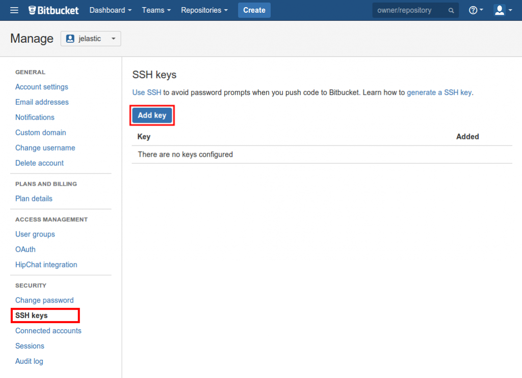 add ssh key bitbucket