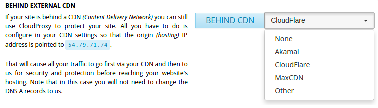 CDN option on the CloudProxy Dashboard