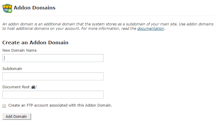 create addon domain