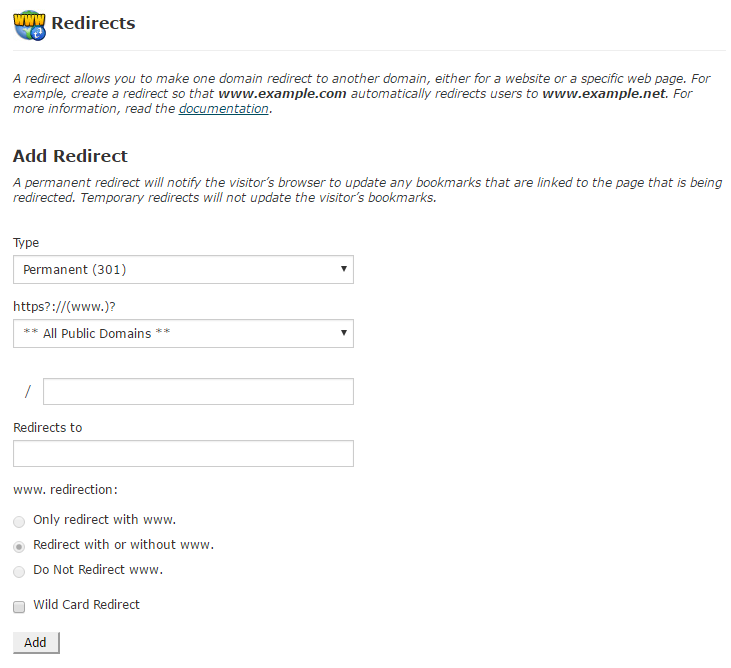 create domain redirect