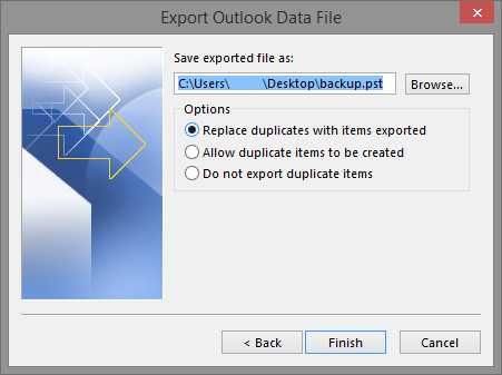 Select Finish to accept these default settings