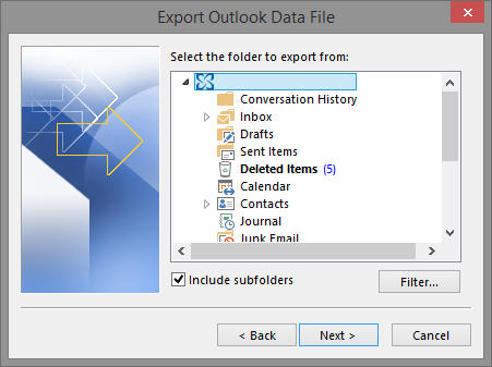 Export Outlook Data File dialog box