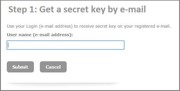 Get secret key by email