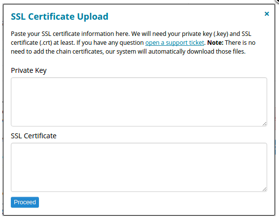 SSL certificate upload