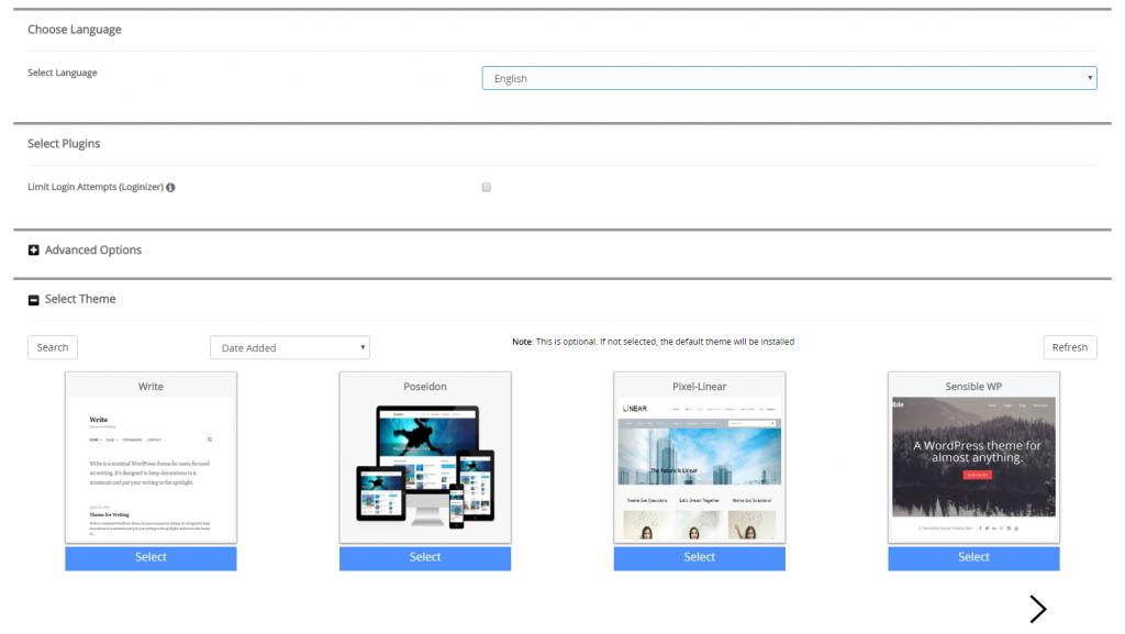 wordpress install information