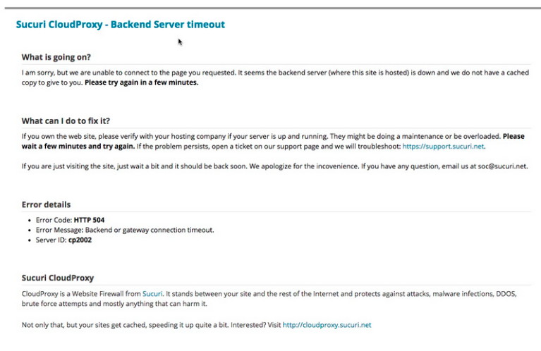 Backend Timeout Message