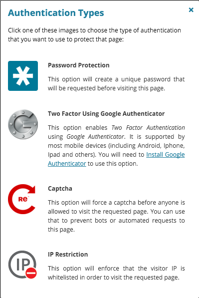 Authentication types