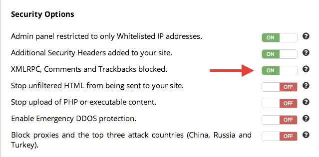 XMLRPC Comments and Trackbacks blocked