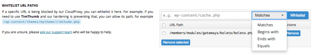 Whitelist URL path