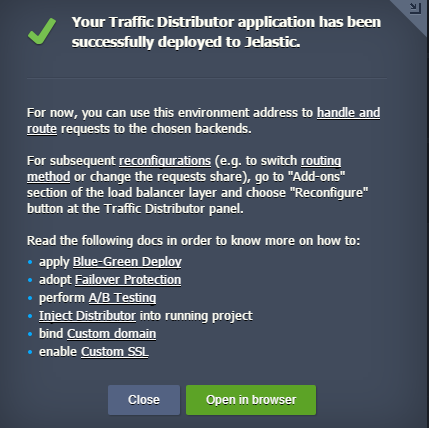 traffic distrubutor successfully deployed